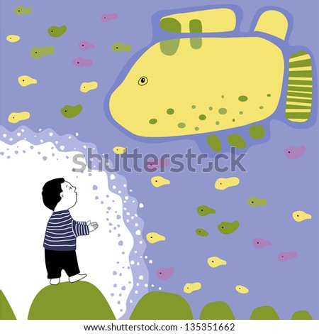 Baby-boy and sea .Vector illustration.  Set of graphical elements. Card to the children's holiday. Print.