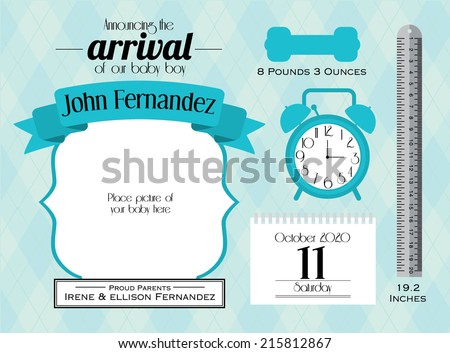 baby boy announcement card template vector/illustration