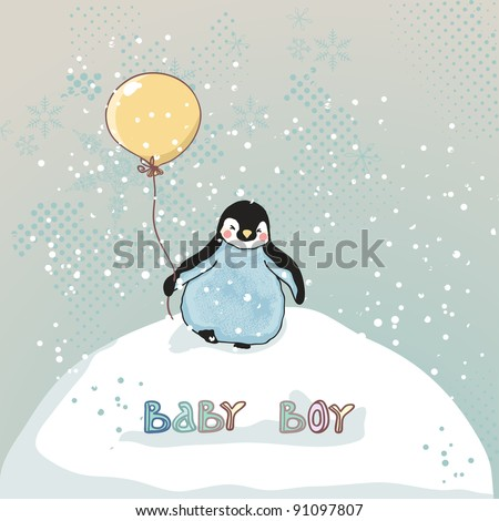 baby boy announcement card with