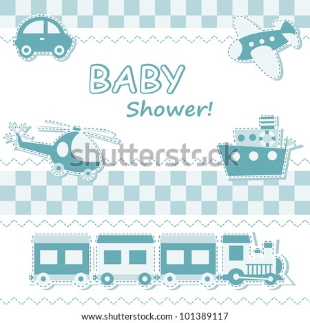 Baby boy announcement card with toys