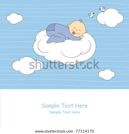 Baby boy arrival announcement card.baby sleeping on the moon