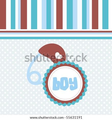 Baby boy arrival announcement card, vector. - stock vector