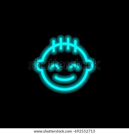 Baby boy blue glowing neon ui ux icon. Glowing sign logo vector