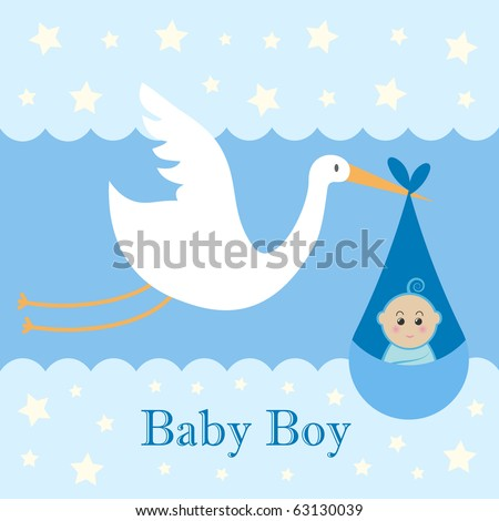 Baby Boy Card - A stork delivering a cute baby boy.