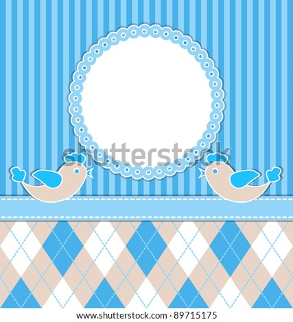 Baby  boy card with birds and blue stripes. Vector illustration. eps10