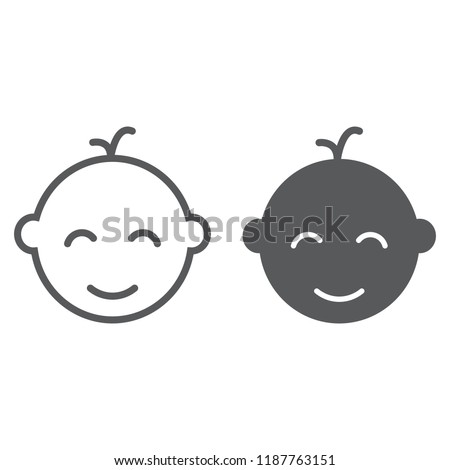 Baby boy line and glyph icon, baby and child, face sign, vector graphics, a linear pattern on a white background, eps 10.