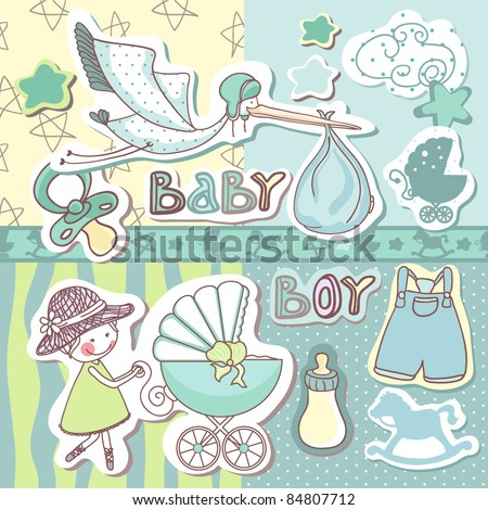 Baby Photo on Baby Boy Scrapbook Set Stock Vector 84807712   Shutterstock