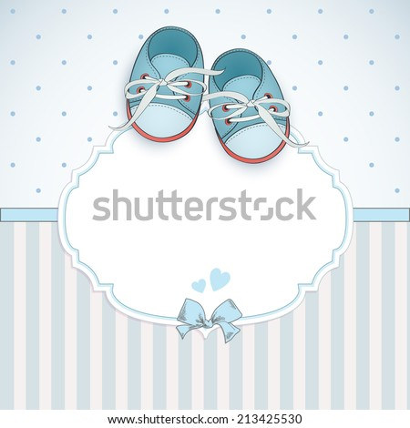 Baby boy shower card. Arrival card with place for your text.
