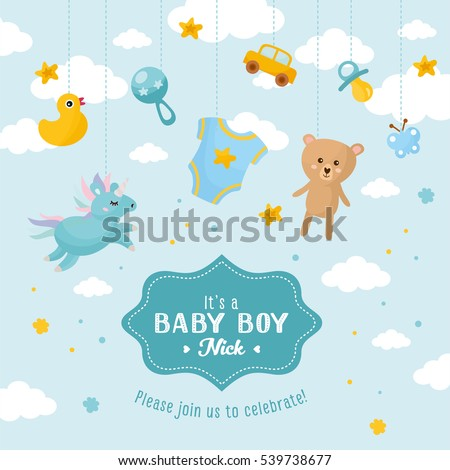 Baby boy shower card. Invitation template with cute toys, place for your text. Labels with letters and kids illustration.