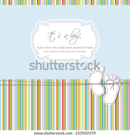 Baby boy shower card with foot steps and frame for your text