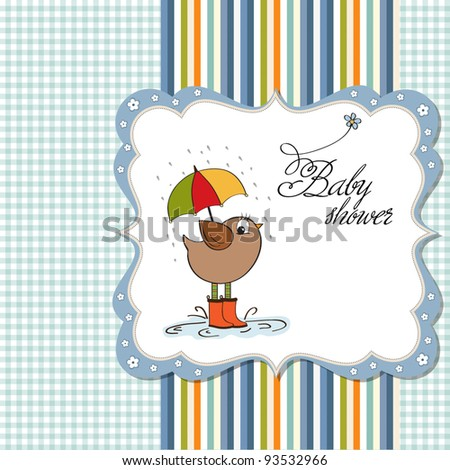 baby boy shower card with little bird stand in the rain - stock vector