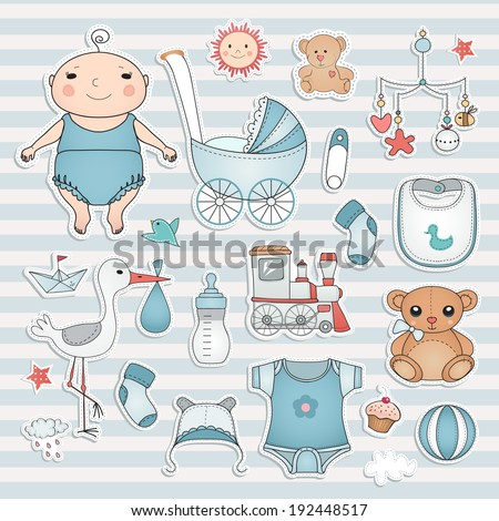 Baby boy shower Cute paper labels