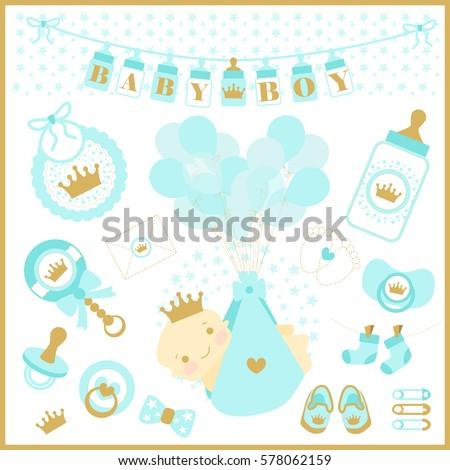 baby boy shower vector set of