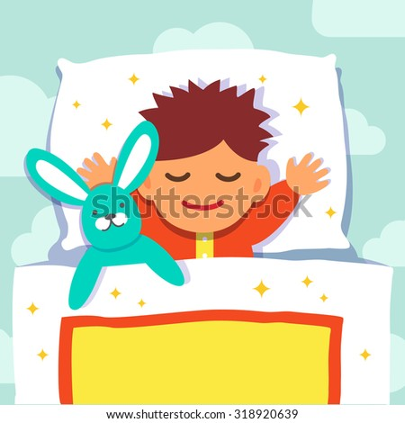 stock-vector-baby-boy-sleeping-with-his-rabbit-toy-flat-style-vector-cartoon-illustration-isolated-on