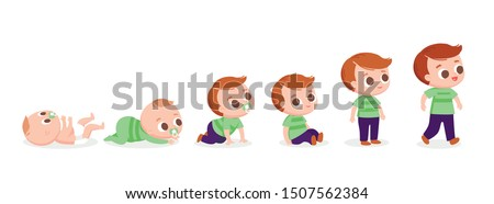 Baby boy walking. Developing process. Baby development timeline, baby growth stages. Crawling around and sitting. Set of baby  characters.