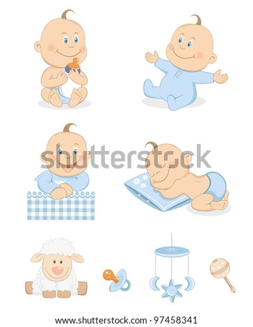 Baby boy with toys and accessories in blue color