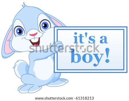 Baby bunny holding it?s a boy sign