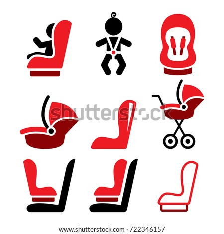 Baby car seat vector icons, toddle car seat - safe child traveling icons   Vector icons set - baby car seat design isolated on white