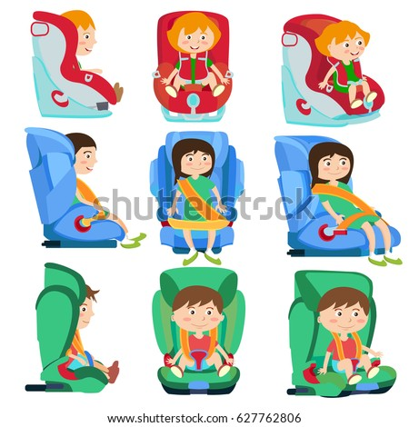 Baby car seats set with smiling children. Icons set of safety seats suitable for different weight and size. Isolated. Vector.