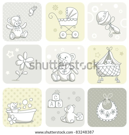 Baby card set - stock vector