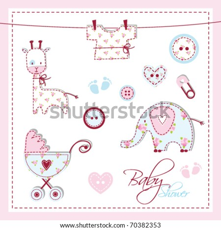 Baby card - Shower design elements - stock vector