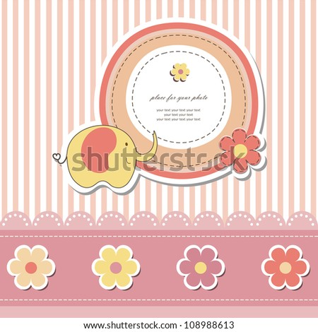 Baby card (vector eps 10). Romantic scrapbooking for invitation, children greeting, happy birthday, label, postcard, children congratulation, postcard, clip art, frame, gift and etc.