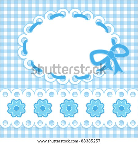 Baby card with blue stripes and flowers