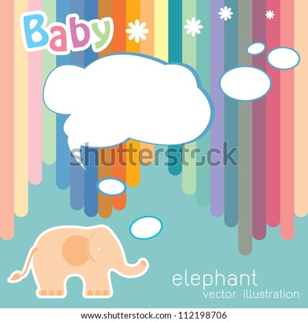 baby card with cute elephant. vector illustration - stock vector