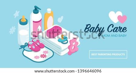 Baby care accessories and shower items, childhood and maternity concept