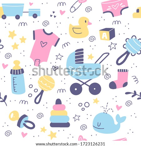 Baby care accessories hand drawn seamless pattern. Bottle, sock, pacifier, cat and duck elements. Cute Scandinavian style design.
