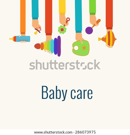 baby care flat concept made in
