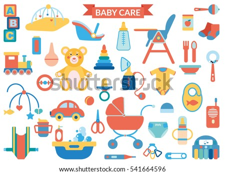 Baby care supplies - big set vector items in modern flat art style, colorful illustrations for your design. Child belongings, toys and products. Isolated on white background.