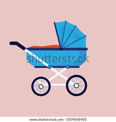 baby carriage, baby pram, stroller. Vector illustration. Stock photo ©