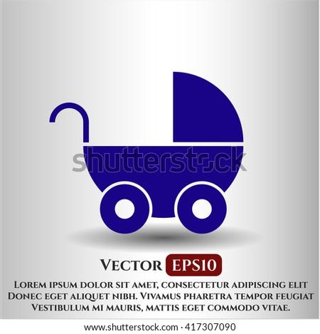 baby cart icon vector symbol flat eps jpg app web concept