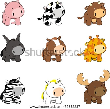 Cartoon Baby Picture on Baby Cartoon Animals Set In Vector Format Very Easy To Edit   72652237