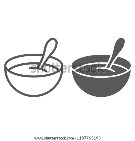 Baby cereal line and glyph icon, food and eat, dish sign, vector graphics, a linear pattern on a white background, eps 10.