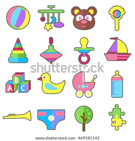 Baby child toys flat vector icons collection