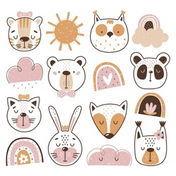 Baby clipart, Animal face clipart. These illustrations are suitable for, print, sublimation, T- shirt, postcard, printable, stationery and so much more.