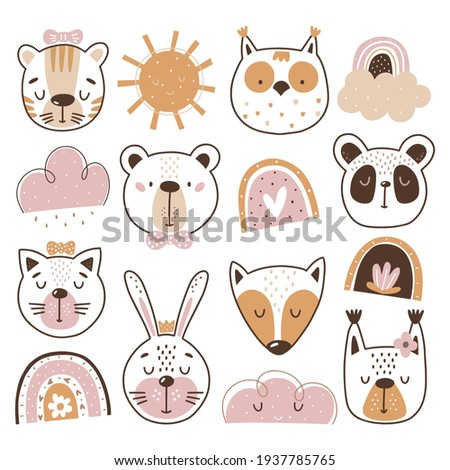 Baby clipart, Animal face clipart. These illustrations are suitable for, print, sublimation, T- shirt, postcard, printable, stationery and so much more. Stok fotoğraf ©