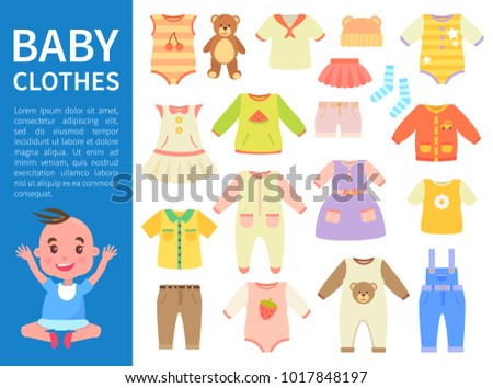 Baby clothes color banner vector illustration with blue stripe, white text sample, varied t-shirts and dress, trousers and shorts, cute sock and bear