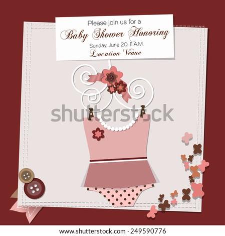 baby clothes dress bodysuit vector illustration scrapbook baby shower invitation template. Black Bedroom Furniture Sets. Home Design Ideas