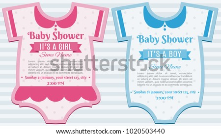 Baby clothes girl and boy shower invitation card template. Set of baby shower invitation card. Baby frame with clothes. It's a boy. It's a girl. Happy mother and baby shower for newborn celebration.