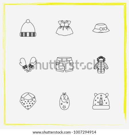 1f7327c8a01 Baby Clothes line icon set hat