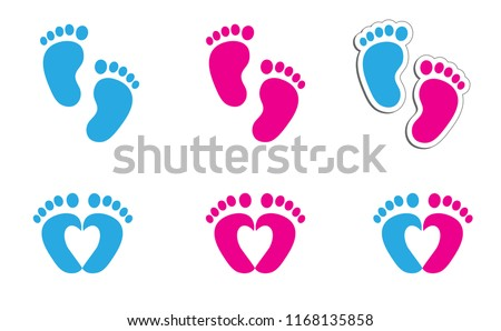Baby coming soon baby gender reveal symbol baby girl baby boy icon vector eps footstep footprints foot feet hand Fun funny happy gender Pretty Pregnant Bump newborn heart love pictogram sign logo