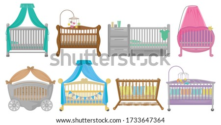 Baby cot vector illustration on white background. Vector cartoon set icon crib bed. Isolated cartoon set icon baby cot. Foto stock ©