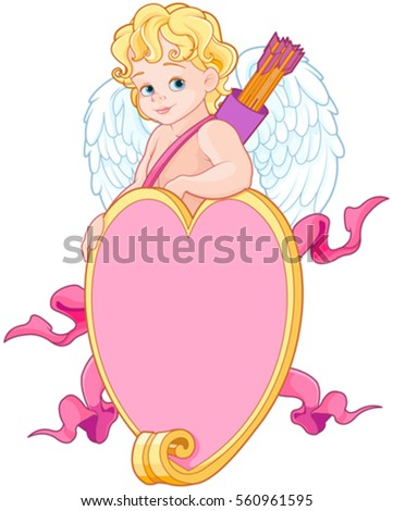baby cupid over a heart shape