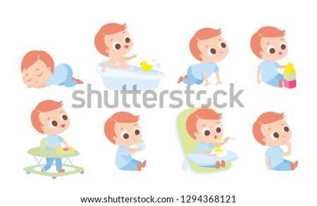 Baby development, baby growth stages. Care about baby. Set of baby  characters,