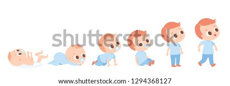 Baby development timeline, baby growth stages. Crawling around and sitting. Set of baby  characters,