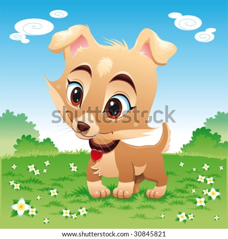 Baby dog in the meadow. Funny cartoon and vector scene. Isolated objects