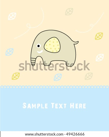 Baby Elephant Birthday Arrival Greeting Card Stock Vect